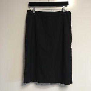 LaFayette 148 black wool blend back slits skirt 8
